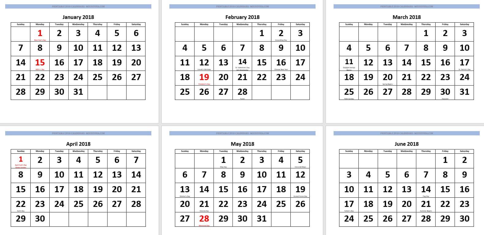 calendar 2018 large and bold