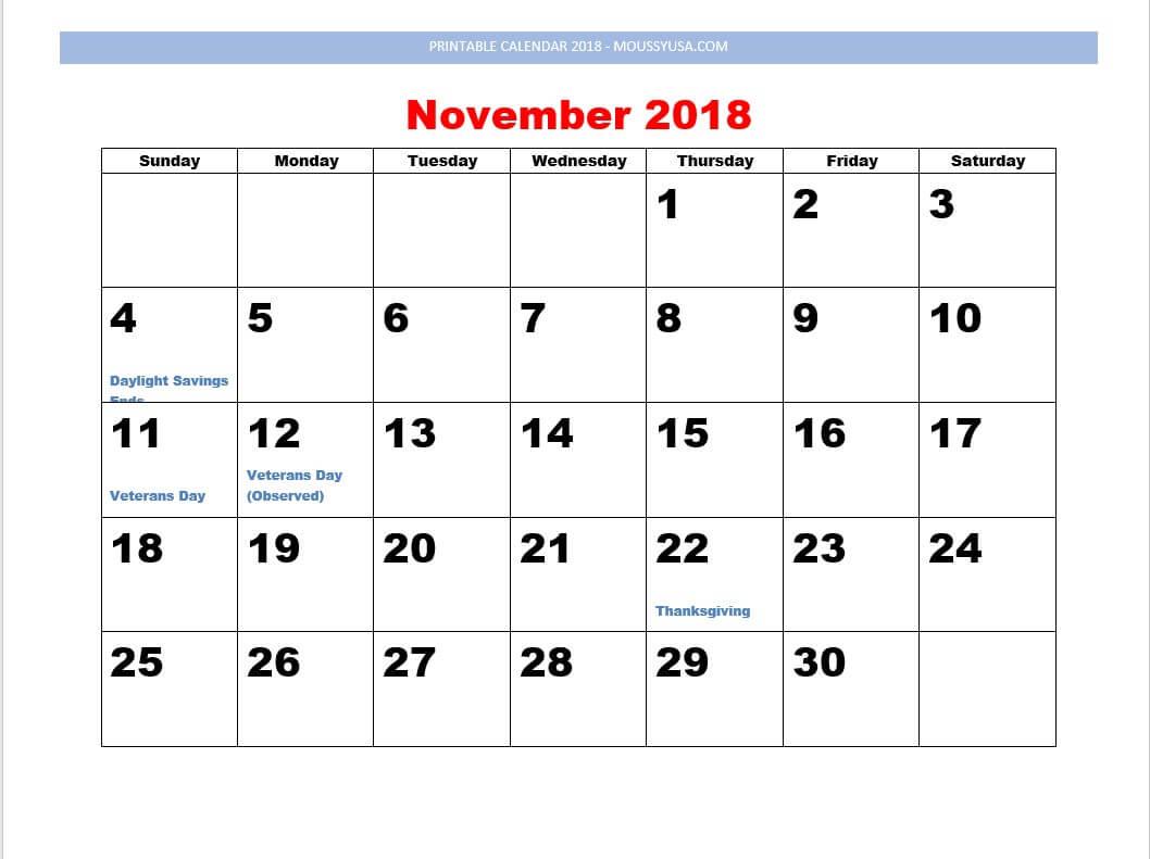 printable calendar November 2018