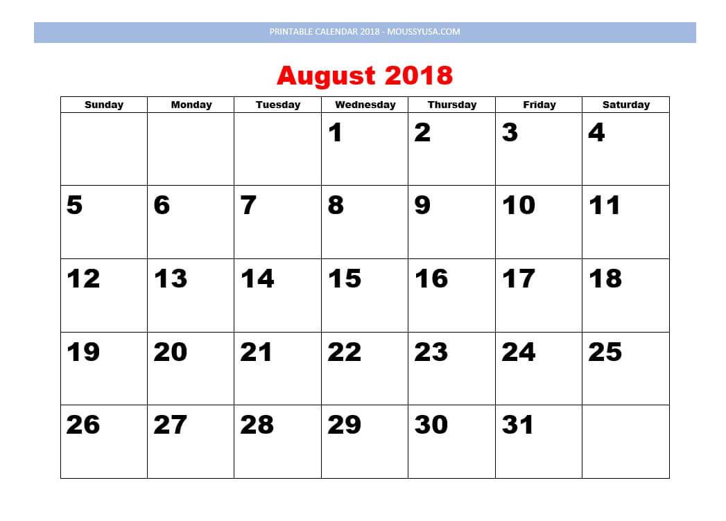 printable calendar august 2018