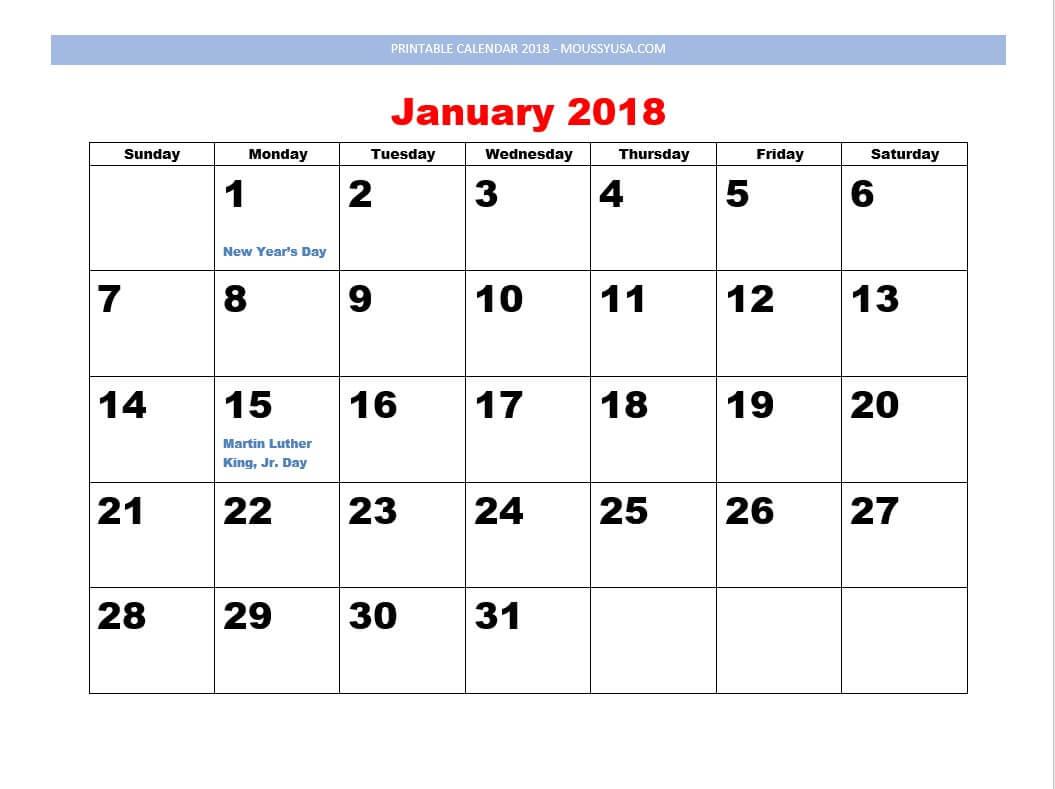 printable calendar januari 2018