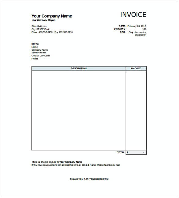 30 Free Download Blank Invoice Templates With Pdf Word And Excel