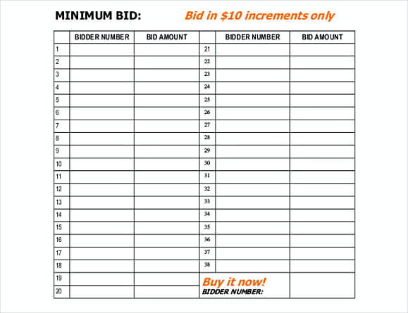 50 free download silent auction bid sheet how to run a successful