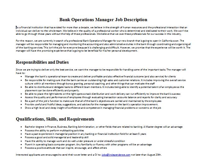operations manager job description